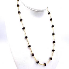 Collana, catena in stile oro e granati - 37.2 gr; 67 cm