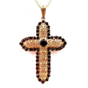 Ciondolo croce capolavoro oro e granati -