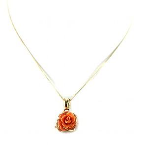 Ciondolo oro rosellina di corallo rosso salmone - 4,3 gr