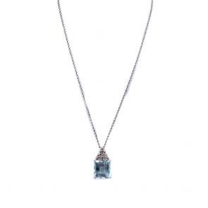 Ciondolo oro, acquamarina - 15-18 ct - e diamanti - 0.30-0.35 ct; 7.58 gr