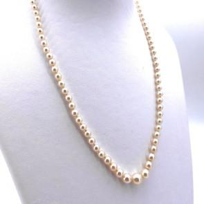 Collana da 47 cm di perle giapponesi - 3.5-7.5 mm- chiusura in stile oro e mini rubini; 15.53 gr
