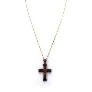 Ciondolo croce artistica in stile oro, argento  e rubini su argento; 6.12 gr