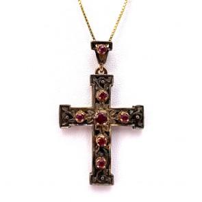 Ciondolo croce artistica in stile oro