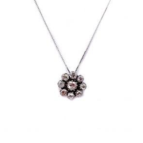 Ciondolo fiore punto luce circolare, in stile, oro e diamanti