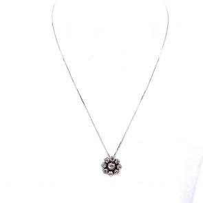 Ciondolo fiore punto luce circolare, in stile, oro e diamanti - 2.01 ct; 5.04 gr