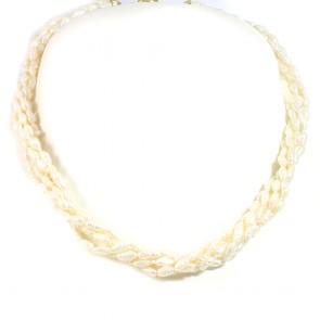 Collana torchon multifilo perle e oro - 42 cm; 40,5 gr.