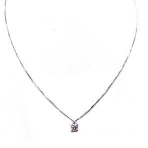 Ciondolo punto luce oro e diamante solitario - 0.23 ct; 2.08 gr
