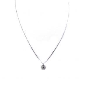 Ciondolo punto luce  margherita circolare oro e diamanti - 0.26 ct; 2.98 gr
