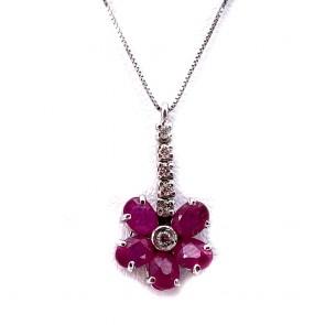 Ciondolo fiorellino oro, rubini e diamanti