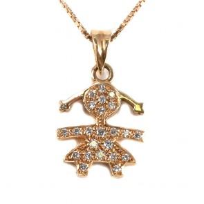 Ciondolo bimba oro e diamanti