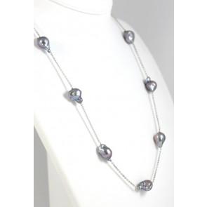 Collana modello catena, oro e perle barocche grey - 69 cm; 39,4 gr
