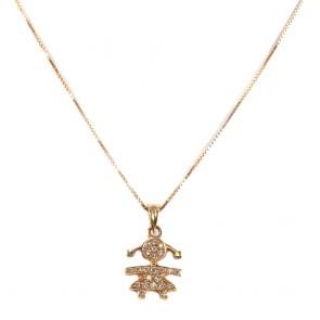 Ciondolo bimba oro e diamanti - 0,23 ct; 4,9 gr