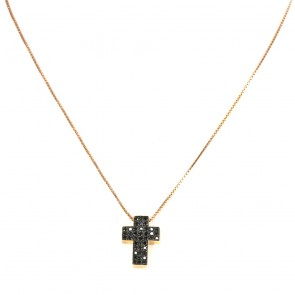 Ciondolo croce oro rosa e diamanti neri - 0,38 ct; 5,5 gr