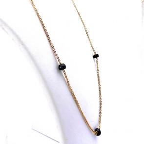 Collana, catena in stile oro e granati - 18.53 gr; 67 cm