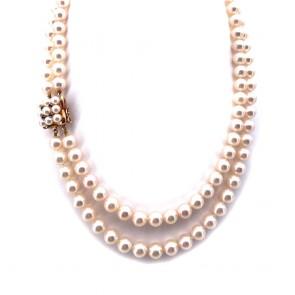 Collana doppio filo da 42 cm di perle giapponesi