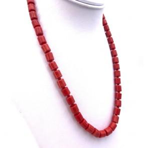 Collana di corallo, barilotti, taglio liscio e argento - 39 gr; 50 cm