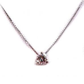 Ciondolo punto luce oro e diamante solitario