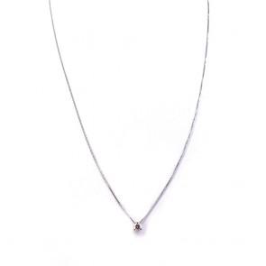 Ciondolo punto luce oro e diamante solitario - 0.25 ct; 1.39 gr