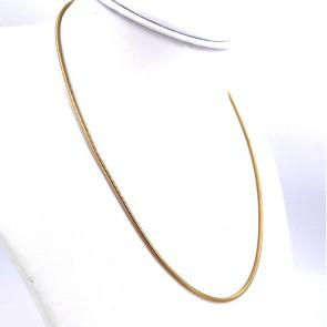 Collana catena unisex oro, maglia tubo gas - 48 cm; 14.4 gr