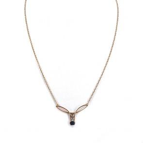 Collana in stile oro, zaffiro e mini diamanti