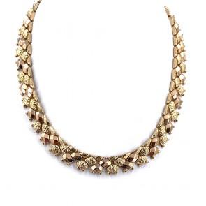 Collana collier artigianale, vintage, a fascia larga oro