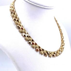 Collana collier artigianale, vintage, a fascia larga oro - 44 cm x 1.3 cm; 57.7 gr