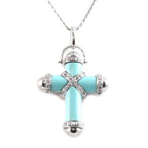 Ciondolo croce oro, turchese e diamanti