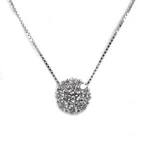 Ciondolo punto luce  margherita circolare oro e diamanti