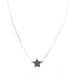 Ciondolo-collana argento bianco e stella - 40 cm + 5 cm; 3,6 gr