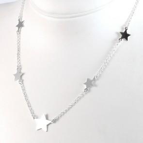 Collana argento bianco e stelle - 40 cm + 5 cm; 5,5 gr
