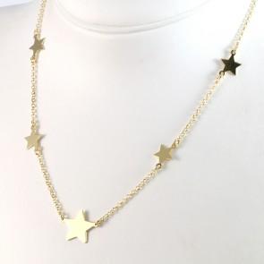 Collana argento dorato e stelle - 40 cm + 5 cm; 5,5 gr