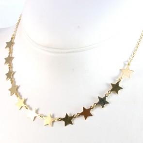 Collana argento dorato e 11 stelle - 40 cm + 5 cm; 6,9 gr