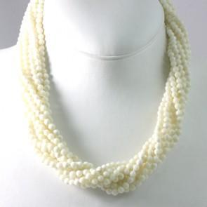 Collana maxi torchon a 9 fili di corallo bianco con chiusura argento - 54,5 cm