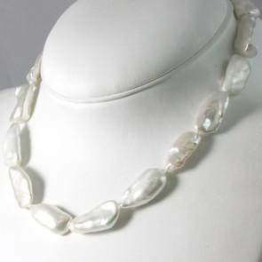 Collana girocollo di perle bianche baroccate allungate-da 27-12 mm- e argento - 47 cm