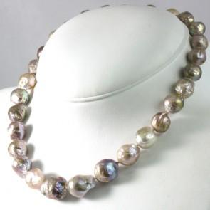Collana girocollo di perle sul violaceo baroccate -da 12-15 mm- e argento - 46 cm