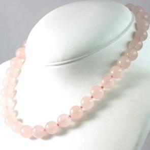 Collana girocollo quarzo rosa -da 12 mm- e metallo - 47 cm