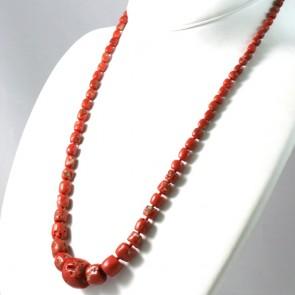 Collana di corallo etnico rosso e oro - 57 gr; 63 cm