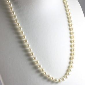 Collana lunga di perle giapponesi - 7 mm- e oro bicolore - 62 cm; 41,4 gr