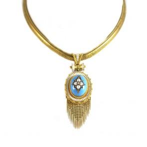 Ciondolo/Collana antica capolavoro, in oro giallo, smalti, microperle e diamanti - 151,4 gr