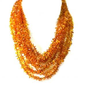 Collana multifilo ambra a sassolini irregolari e argento