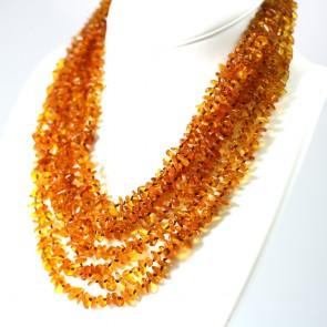 Collana multifilo ambra a sassolini irregolari e argento - 82,58 gr; 52 cm + 5 cm