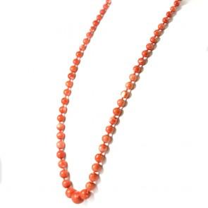 Collana di corallo rosso  salmone, boulle a scalare e oro - 81,4 gr; 79 cm