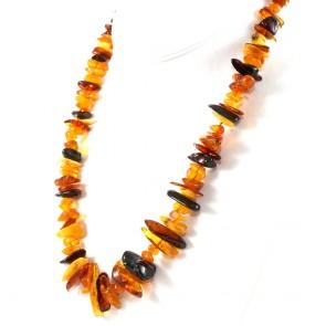 Collana ambra tricolore a sassi irregolari, a scalare, 7-36 mm e argento - 53.3 gr; 62 cm