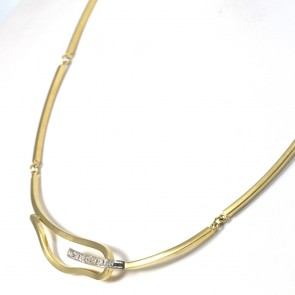 Collana collier catena semirigida con diamanti -0.10-0.12 ct-  50 cm; 17.3 gr