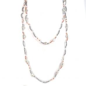 Collana lunga ematite bicolore e perle