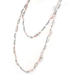 Collana lunga ematite bicolore e perle - 170 cm; 38 gr