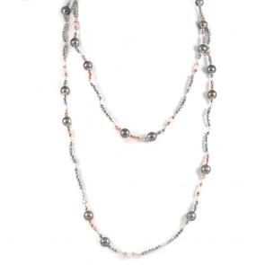 Collana lunga ematite bicolore e perle nere
