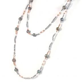 Collana lunga ematite bicolore e perle nere - 130 cm; 42.7 gr