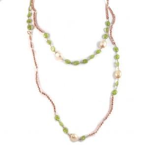 Collana lunga ematite rosè, peridoti e perle