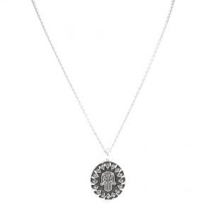 Ciondolo Mano di Fatima e catena argento- 90 cm + 4 cm; 29.5 gr